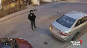 Video appears to show masked man shooting air pistol at Montreal mosque (00:32)