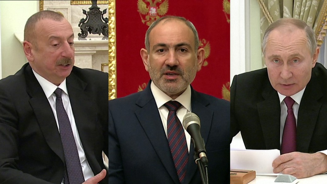 Click to play video: 'Nagorno-Karabakh conflict: Putin hosts 1st post-war talks with Armenia, Azerbaijan leaders'