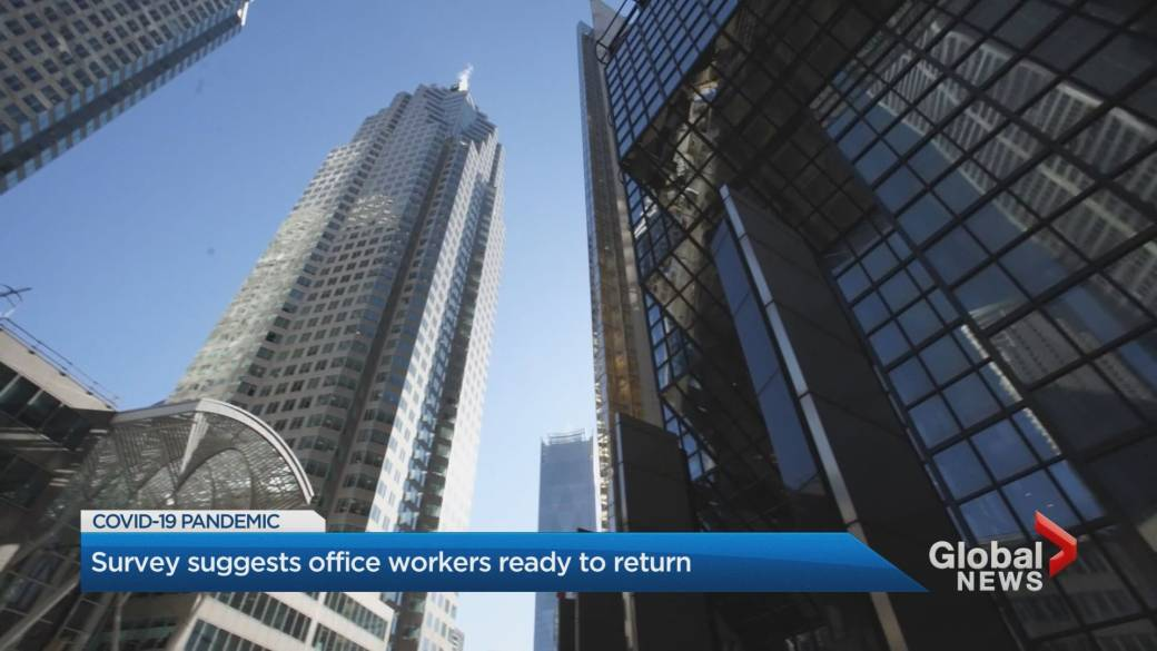 Click to play video: '64% of employees in downtown Toronto comfortable returning to their office: survey'