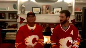 Saint John man battling cancer sings national anthem virtually at Calgary Flames game (01:11)