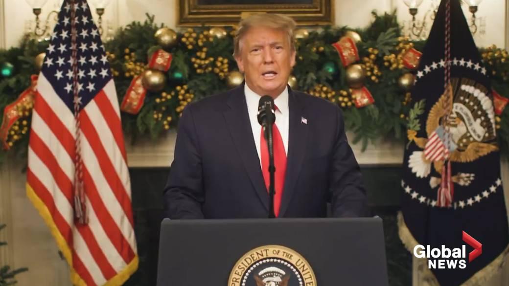 Click to play video 'Coronavirus: Trump demands U.S. Congress amend COVID-19 stimulus bill'