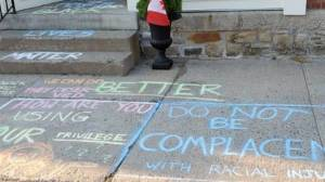 Black Lives Matter chalk messages appear then disappear in Athens, Ont.