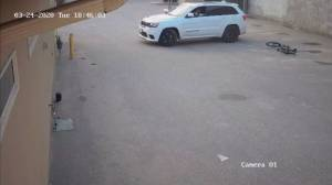 Vernon RCMP release video of hit and run involving bike and white Jeep Cherokee