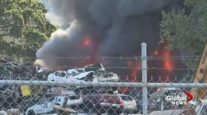 Crews battle flames at scrapyard south of Nanaimo (01:27)