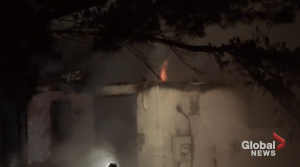 Crews battle early morning house fire south of Havelock (01:17)
