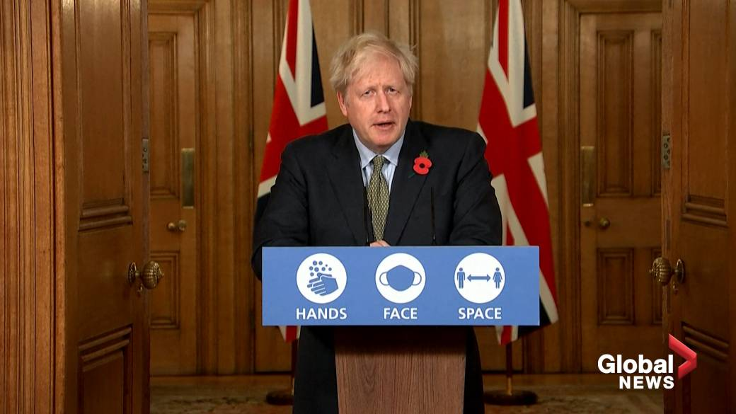 Click to play video 'Coronavirus: UK Prime Minister Boris Johnson discusses Pfizer vaccine and says' wait and see'