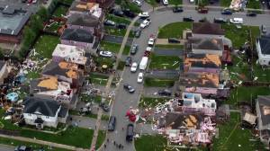 Barrie tornado: Drone footage shows significant damage to homes after tornado rips through suburb (00:54)