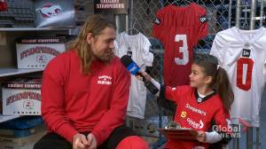 Junior reporter Sophie interview Stampeders running back Ante Litre