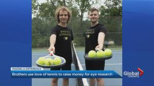 Toronto brothers recycle tennis balls for eye research (02:27)