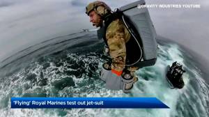 'Flying' Royal Marines test out jet suit (01:14)