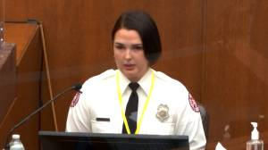 Derek Chauvin trial: Off-duty firefighter testifies she was stopped from helping George Floyd (01:37)