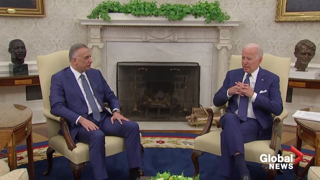Click to play video: 'Biden, Iraqi PM al-Kadhimi agree to end U.S. combat mission in Iraq by end of 2021'