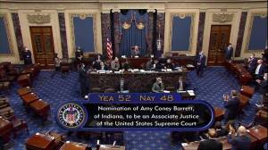 U.S. Senate votes in favour to confirm Amy Coney Barrett for Supreme Court (00:46)