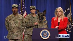 Dog that helped in raid to find Abu Bakr al-Baghdadi holds press conference on SNL