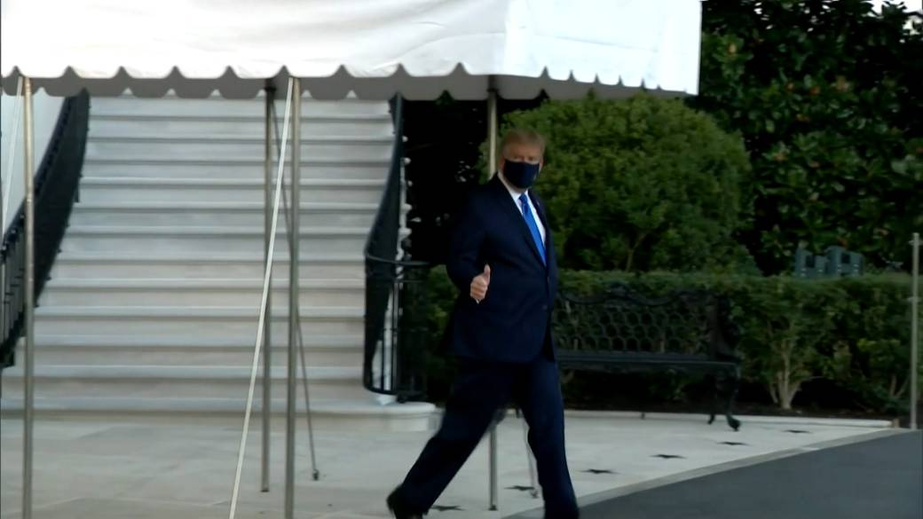 Click to play video 'Coronavirus: Trump heads to Walter Reed hospital as precautionary measure'