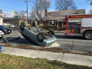 SUV lands on roof following collision on Park St. in Peterborough
