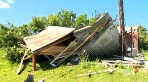 Tornado destroys century-old barn and more on ranch near Nanton, Alta. (01:33)
