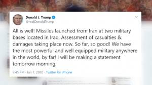 Donald Trump expected to address Iran missile attacks on Iraqi U.S. military bases
