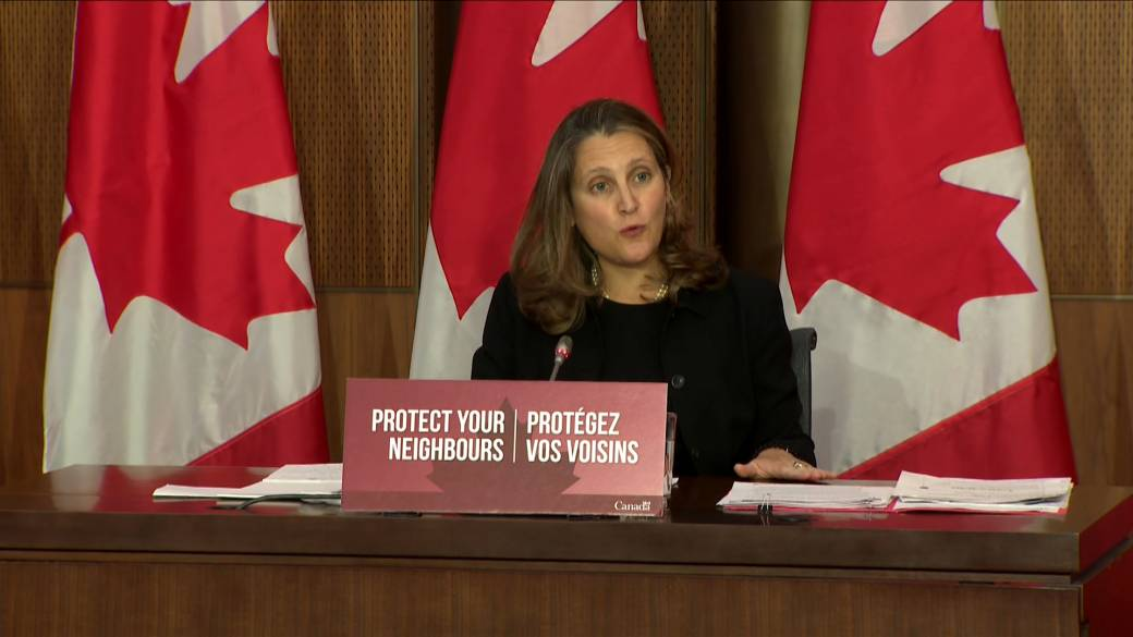 Click to play video 'Coronavirus: Freeland says new measures 'targeted' at certain businesses'