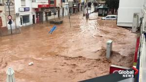Spain floods: Cars washed away, homes submerged following storm in Huelva province (01:32)
