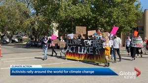 Okanagan activists rally for global strike (02:28)