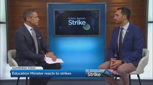 Stephen Lecce reacts to the Ontario teacher strike