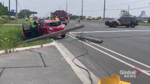 Woman taken to hospital after car crashes into pole in Cobourg (00:37)