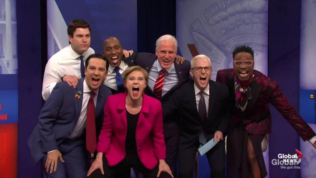 Kate McKinnon appears as presidential candidate Elizabeth Warren in latest 'SNL' cold open
