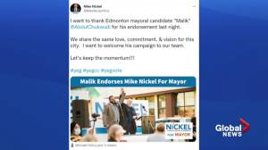 Edmonton mayoral candidate gives, receives endorsements from other candidates (02:13)