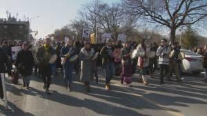 Demonstrators march to Queen's Park in solidarity with Wet'suwet'en