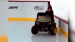 Video shows 5-year-old New Brunswick boy using mini-zamboni to clear ice (00:41)