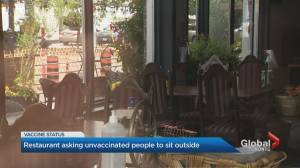 Toronto restaurant asking unvaccinated people to sit outside (02:15)