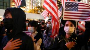 Hong Kong protesters hold Thanksgiving rally thanking U.S. for support