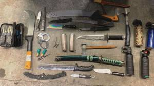 Large cache of weapons discovered at tent city in Oppenheimer Park