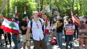 Lebanese Canadians gather outside consulate to demand government step down