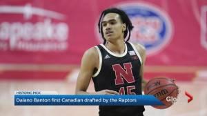 Dalano Banton becomes Toronto Raptors' first Canadian draft pick (02:05)