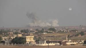 Smoke rises from Syria border towns hit by airstrikes