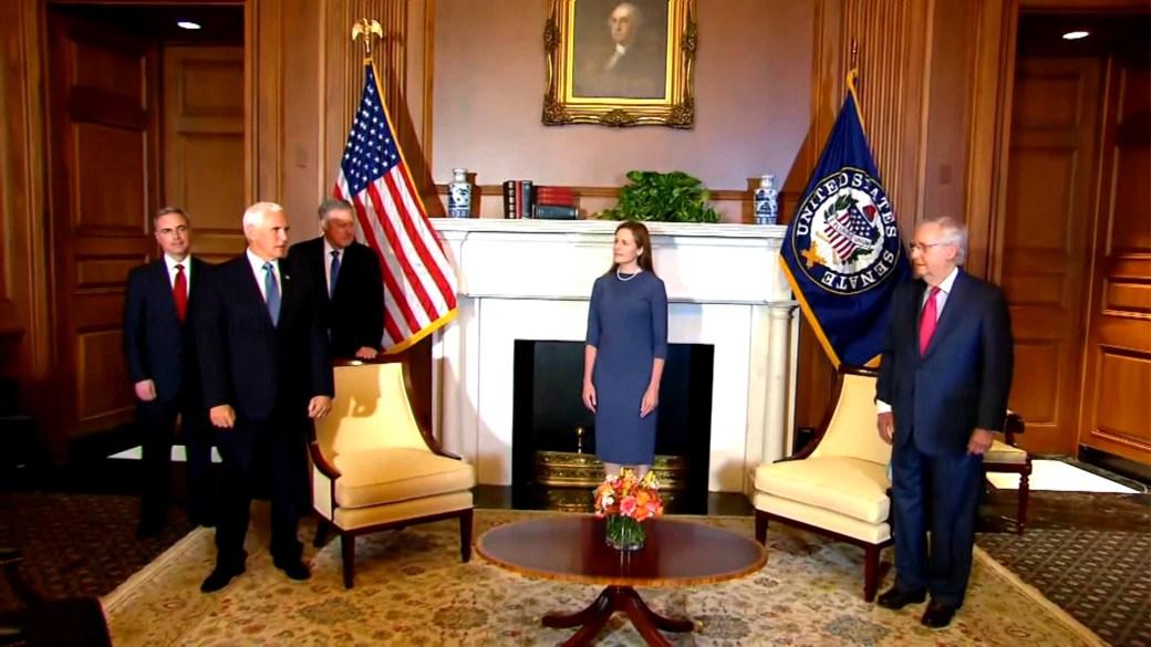 Click to play video 'Trump Supreme Court pick Amy Coney Barrett meets with Republican Senators, VP Pence'