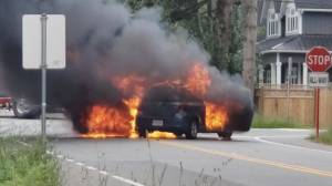 Fiery three car crash at Aldergrove stop sign captured on camera (00:29)
