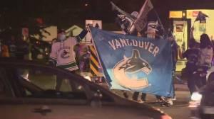 Canucks fans celebrate along Surrey/Delta border (02:20)