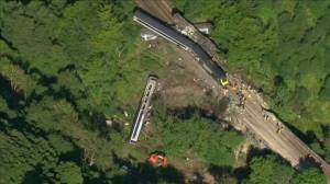 Aerial footage reveals the extent of deadly train derailment in Scotland