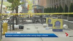 Swing stage collapse leaves window washers dangling high above Toronto highrise