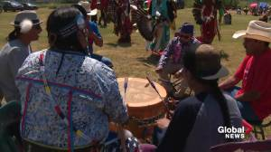 Samson Cree First Nation hosts 'mini' powwow to mark National Indigenous Peoples Day (01:40)