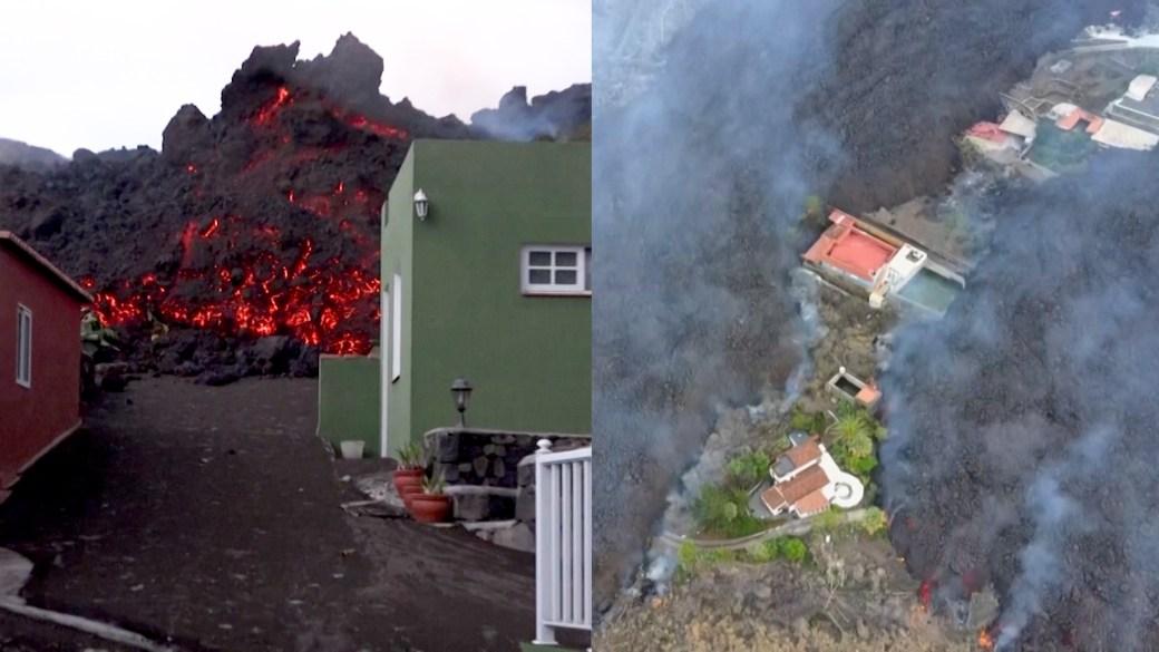 Click to play video: 'La Palma volcano: Lava continues destructive flow as volcanic ash covers villages'