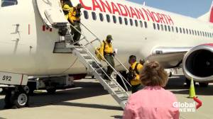 B.C. wildfires: Mexican fire crews arrive to help tame blazes (00:54)