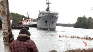 HMCS Cormorant finally towed from town of Bridgewater (01:54)