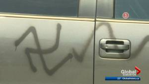 Vehicles vandalized with racist graffiti in southwest Edmonton