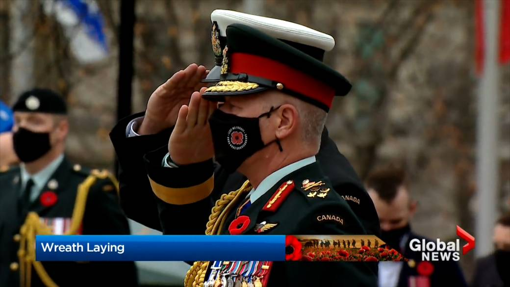 Click to play video 'Remembrance Day 2020: Despite threat of COVID-19, ceremony honouring Canada's troops still has power'