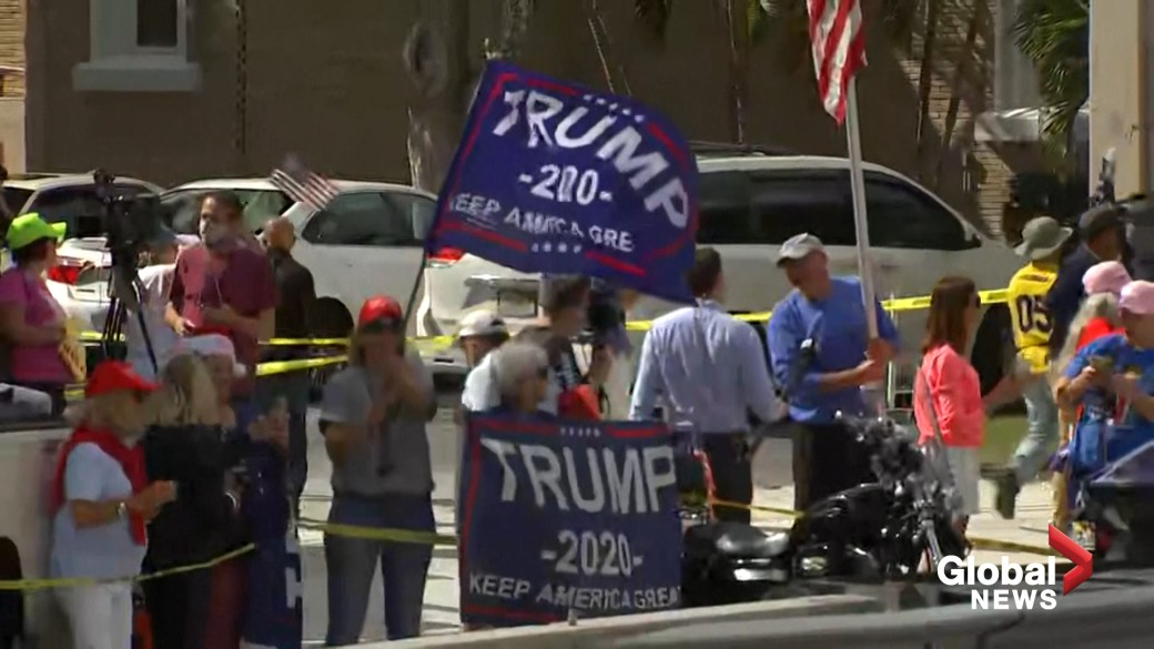 Click to play video 'Former U.S. president Donald Trump arrives in Florida after departing the White House'