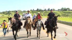 8-year-long ride concludes in Calgary for Brazilian-born cowboy (01:47)